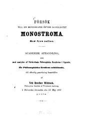 Försök till en monographi öfver Algslägtet Monostroma: Med 4 Taflor. (Doctordiss.)