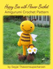 Happy Bee with Flower Basket Amigurumi Crochet Pattern