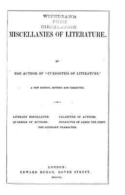 Miscellanies of literature  by the author of  Curiosities of literature   PDF