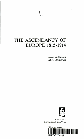 The Ascendancy of Europe  1815 1914 PDF