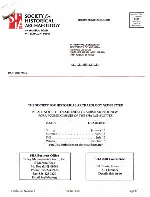 Newsletter   Society of Historical Archaeology PDF