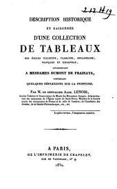 Description historique et raisonnée d'une collection de tableaux ... appartenant à Mesd. Dumont de Frainays ...
