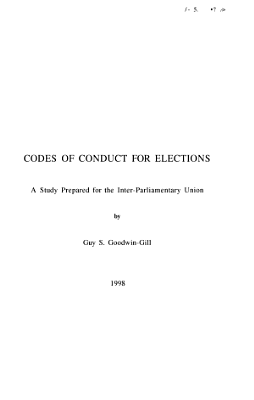 Codes of Conduct for Elections