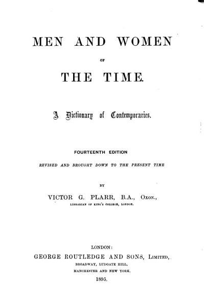 Download Men and Women of the Time Book