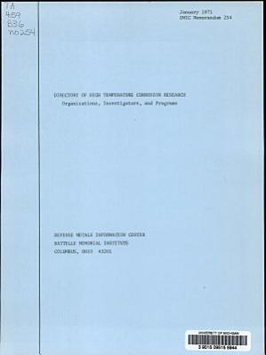 Directory of High Temperature Corrosion Research PDF