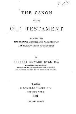 The Canon of the Old Testament PDF