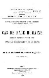 Cas de rage humaine observé pendant l'année 1890 dans le département de la Seine