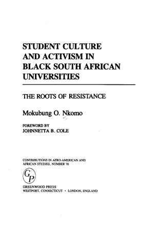 Student Culture and Activism in Black South African Universities PDF