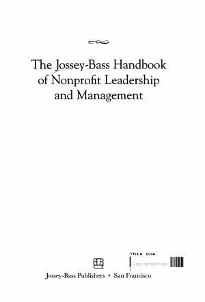 The Jossey Bass Handbook of Nonprofit Leadership and Management PDF