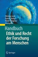 Handbuch Ethik und Recht der Forschung am Menschen PDF