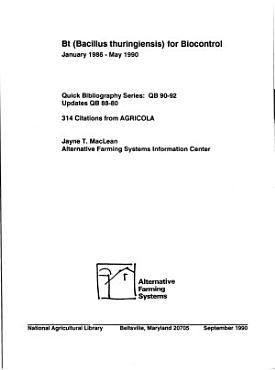 Bt  Bacillus Thuringiensis  for Biocontrol PDF