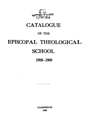 Catalogue of the Episcopal Divinity School