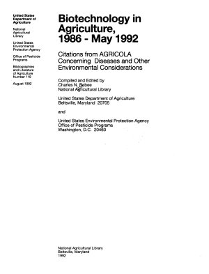 Biotechnology in Agriculture  1986 May 1992 PDF