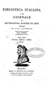 Biblioteca italiana, o sia giornale di letteratura, scienze ed arti ...: Volume 33