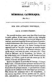 Extrait du Mémorial catholique (mai 1827) sur une attaque nouvelle
