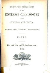 Annual Report of the Insurance Commissioner of the State of Minnesota: Part 1