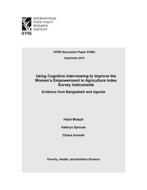 Using cognitive interviewing to improve the Women   s Empowerment in Agriculture Index survey instruments PDF