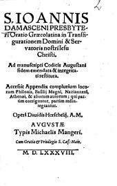 Oratio Graeco-latina in transfigurationem Dom. N. Jesu Christi