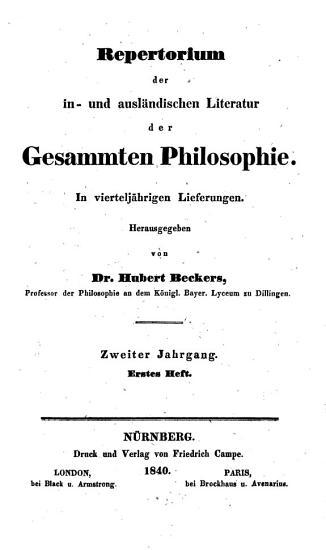 Repertorium der in  und ausl  ndischen Literatur der gesammten Philosophie PDF