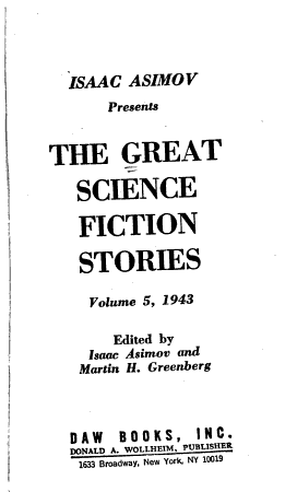 The Great Science Fiction Stories PDF