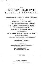 De Deo omnipraesenti eodemque personali: Dissertatio inauguralis philosophica