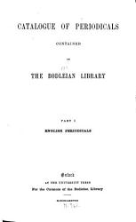 Catalogue of Periodicals Contained in the Bodleian Library  English periodicals PDF
