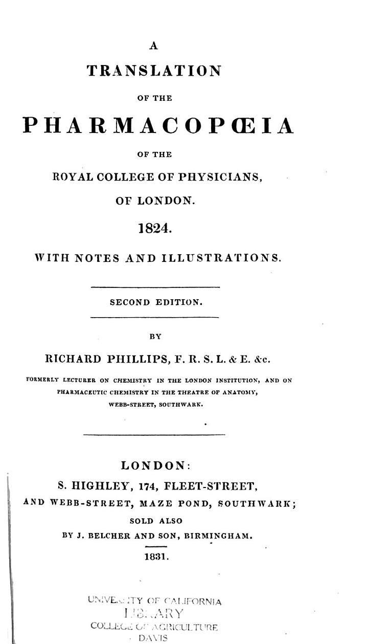 A Translation of the Pharmacopoeia of the Royal College of Physicians of London, 1824