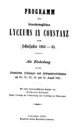 Programm des Grossherzoglichen Lyceums in Constanz: vom Schuljahre .... 1864/65
