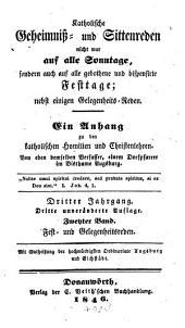 Katholische Geheimniß- und Sittenreden auf alle Sonn- und Festtage: nebst einer Primiz-, Hochzeit- und Leichenrede. Fest- und Gelegenheitsreden, Teil 2