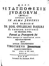 Pseudypothesis Judaeorum (Joh. VII, 27)