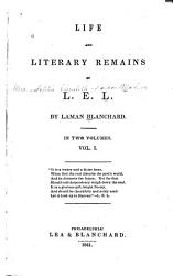 Life and Literary Remains of L. E. L.