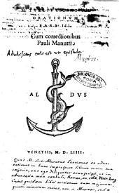 M. Tullii Ciceronis Orationum pars 1. [-3.]. Cum correctionibus Pauli Manutii: Volume 3