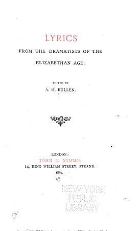 Lyrics from the Dramatists of the Elizabethan Age PDF