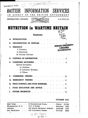 Nutrition in Wartime Britain