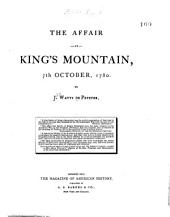 The Affair at King's Mountain, 7th October, 1780