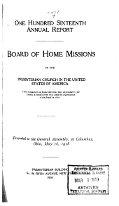 Annual Report of the Board of Home Missions of the Presbyterian Church in the United States of America