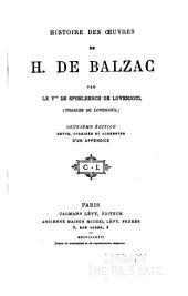 Histoire des oeuvres de H. de Balzac