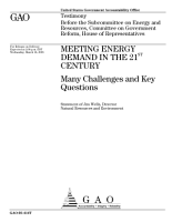 Meeting energy demand in the 21st century many challenges and key questions   testimony before the Subcommittee on Energy and Resources  Committee on Government Reform  House of Representatives PDF