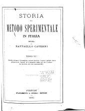 Storia del metodo sperimentale in Italia: Volume 6