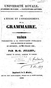 Sur l'étude et l'enseignement de la grammaire