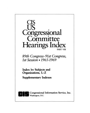 CIS US Congressional Committee Hearings Index  89th Congress 91st Congress  1st Session  1965 1969  5 v