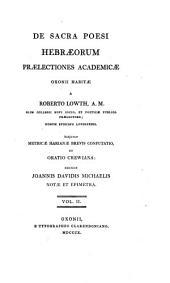 De sacra poesi Hebraeorum praelectiones academicae: Volume 2