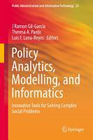 Policy Analytics  Modelling  and Informatics PDF