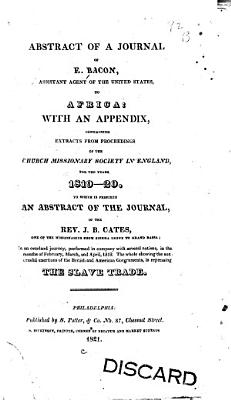 Abstract of a Journal of E  Bacon  Assistant Agent of the United States  to Africa