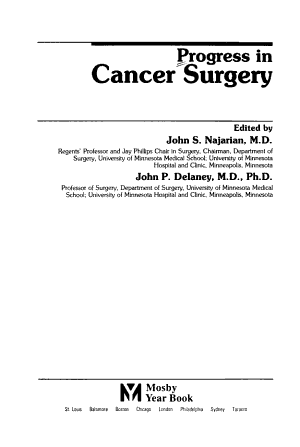 Progress in Cancer Surgery