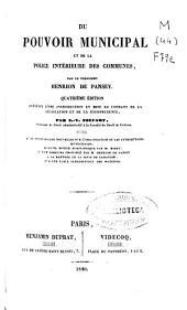 Du pouvoir municipal et de la police intérieure des communes