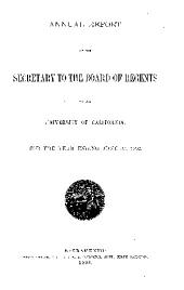 The Report of the Secretary to the Regents of the University of California