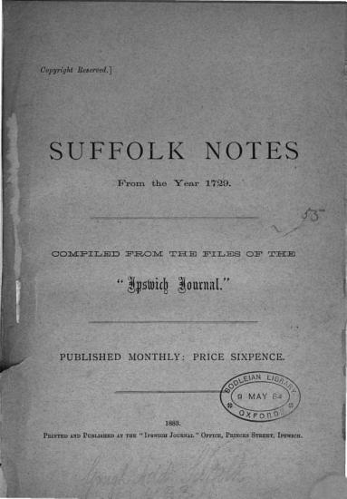 Suffolk notes from the year 1729  Compiled from the files of the  Ipswich journal   PDF
