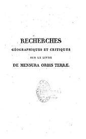 Recherches géographiques et critiques sur le livre De mensura orbis terrae...: composé en Irlande, au commencement du neuvième siècle
