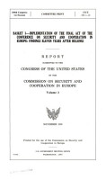 Basket I  implementation of the Final Act of the Conference on Security and Cooperation in Europe PDF